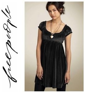SALE Free People Black Velvet Babydoll Dress